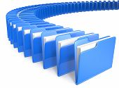 Circle shaped row of Files. Blue. White background . poster