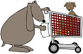 This illustration depicts a female dog pushing a shopping cart with a pup inside. poster