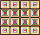 Retro seamless pattern in colors red brown and yellow poster