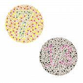 Ishihara Test. daltonism, color blindness disease. perception test poster