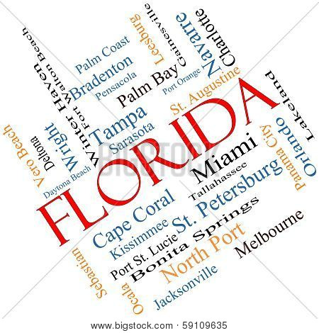 Florida State Word Cloud Concept Angled