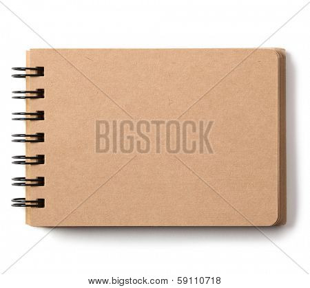 Blank brown paper mini scrap book isolated on white.