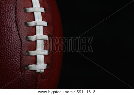 Professional American Football Laces Close Up for Sports Background