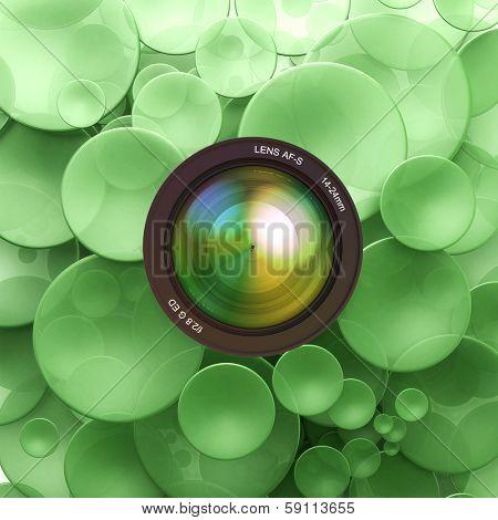 Green disks and a camera lens