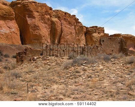 Chaco Culture National Historic Park is located in northern New Mexico and features pueblo dwellings dating back 1,000 years. poster