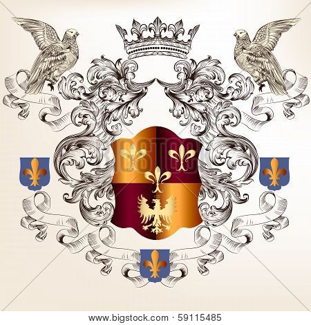 Beautiful Heraldic Design With Shield In Vintage Style