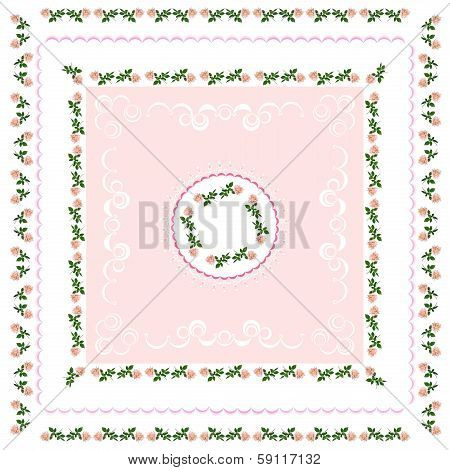 pink roses as element of floral pattern
