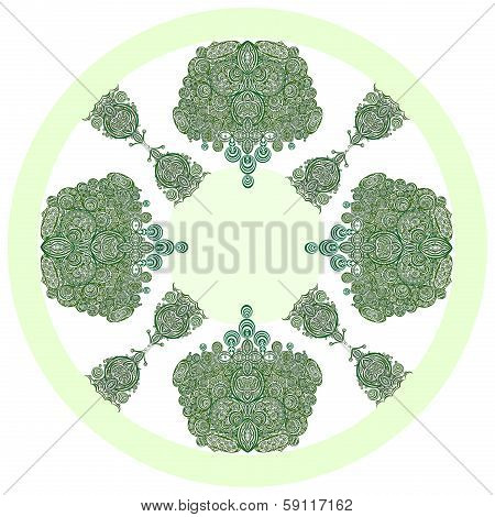 composition of green circles as pattern for background