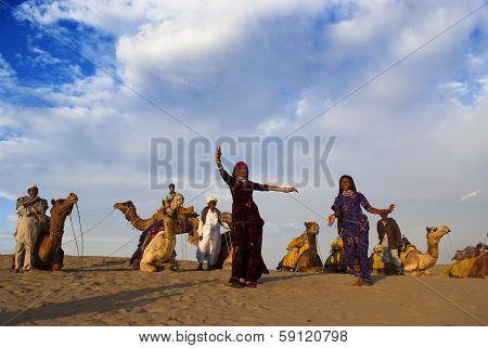 Cultural Dance At Sam Sand Dune In Jaisalmer