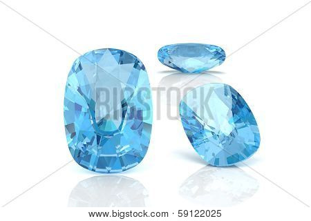 Aquamarine On A White Background.