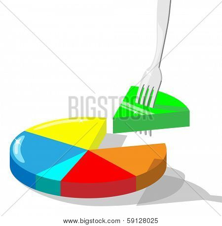 Concept vector illustration symbolizing taking market  share. Section of diagram stuck on a fork. For eps file look id:32060212