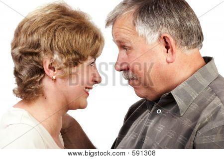 Elderly Couple Smiling.