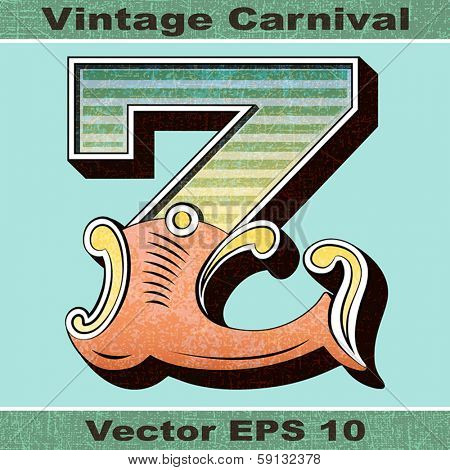The Letter Z of an Alphabet Sit of Vintage, Carnival, Circus, Funfair, Fishtail Letters and Numbers.