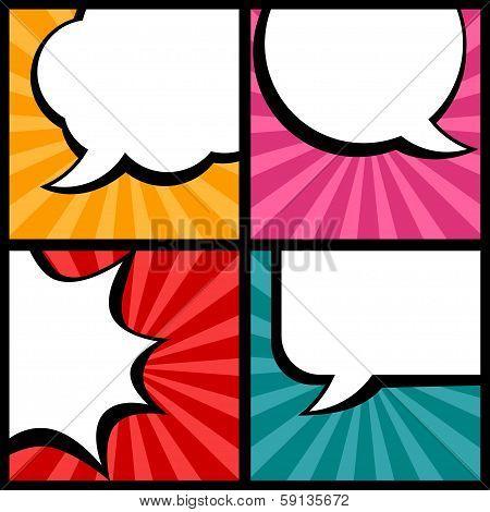 Set of speech bubbles in pop art style.