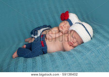 Newborn Twin Babies In Sailor Costumes
