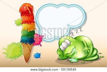 Illustration of a tired monster sleeping near the giant icecream