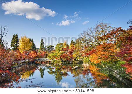Kyoto, Japan at the pond and bridge of Eikando Temple in the Autumn.