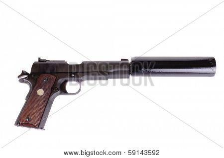 45 ACP with a silencer attached, the weapon of choice of a hit man, isolated over white poster