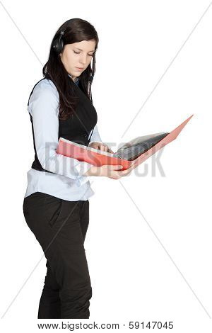 Young Woman With A Headset And Documents