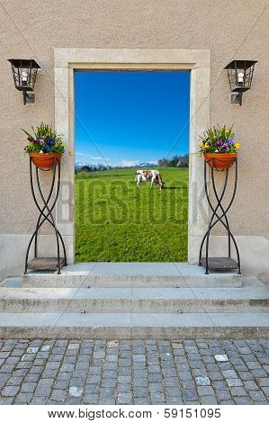 Surreal View of Swiss Pasture through the Window poster