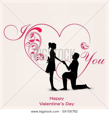 Happy Valentines Day celebration concept with silhouette of young couple in love on floral decorated heart shape background.