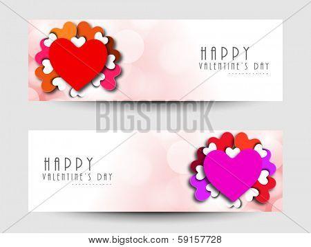 Website header or banner set design for Happy Valentines Day. poster