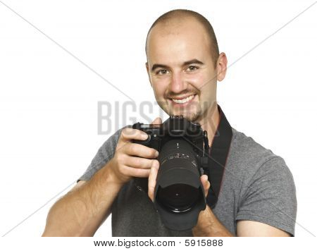 Young Photographer On White