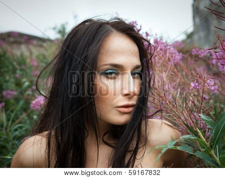 Seminude Beautiful Girl Among The Flowers