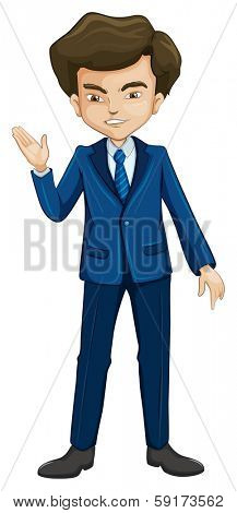 Illustration of a man in a formal attire on a white background