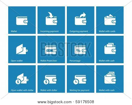 Personal wallet icons on blue background
