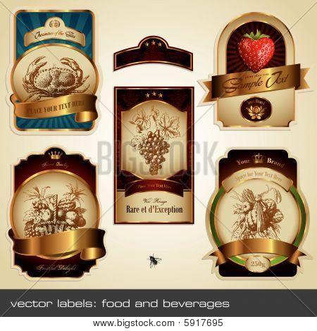 Vektor-Label Set: Essen und Getränke