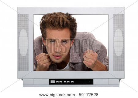 Man behind a screen