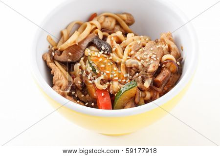 noodle with meat and vegetables
