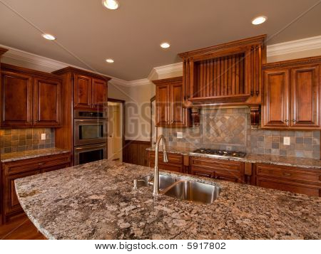 Luxury Home Dark Wood Kitchen Countertop