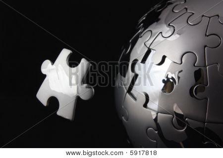 Floating Chrome Jigsaw Piece