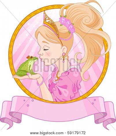 Fairytale Princess kissing a frog