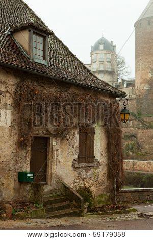 An old part of the Semur-en-Auxois. France