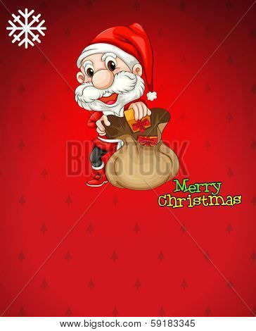 Illustration of Santa with a brown bag full of gifts