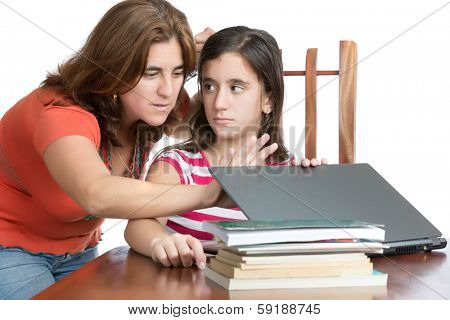 Worried mother checks her daughter internet activity (isolated on white)