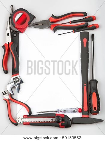 Tool Set Forming A Frame On White Background