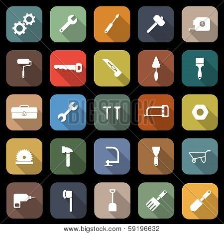 Tool Flat Icons With Long Shadow