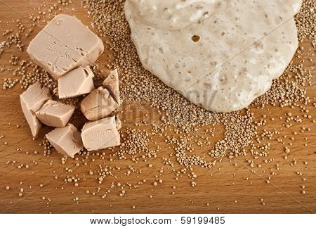 Rising Yeast Dough in bowl on wooden table surface background