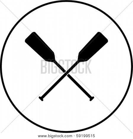 crossed canoe paddles symbol