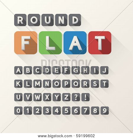Bold Flat Font And Numbers In Rounded Square, Eps 10 Vector, Editable For Any Background, No Clippin
