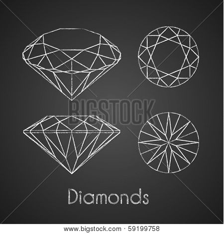 Sketchy chalk-drawn diamond icons - eps10