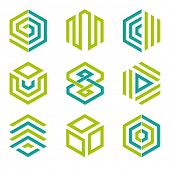 Hexagon shaped design elements 2. Abstract hexagonal vector symbols, lime green and teal. poster