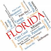 Florida State Word Cloud Concept angled with about the 30 largest cities in the state such as Miami Jacksonville Tampa and more. poster