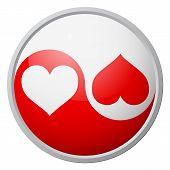 Yin-yang heart red and white balanced symbol poster