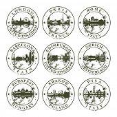 Grunge rubber stamps with London, Paris, Rome, Barcelona, Edinburgh, Zurich, Budapest, Krakow and Pisa - vector illustration poster