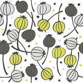 green gray messy poppy seed fruit pattern with seeds doodle seamless pattern on white background poster
